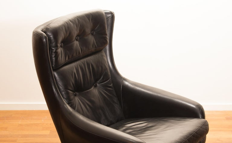 1960s, Leather Black Swivel Rocking Lounge Chair by Lennart Bender For Sale 10