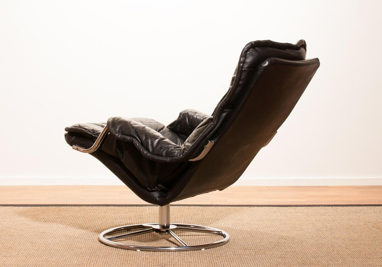Mid-20th Century 1960s, Leather Black Swivel Rocking Lounge Chair by Lennart Bender For Sale