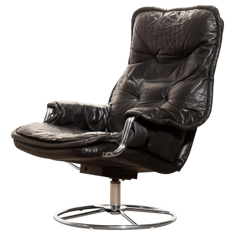 1960s, Leather Black Swivel Rocking Lounge Chair by Lennart Bender For Sale