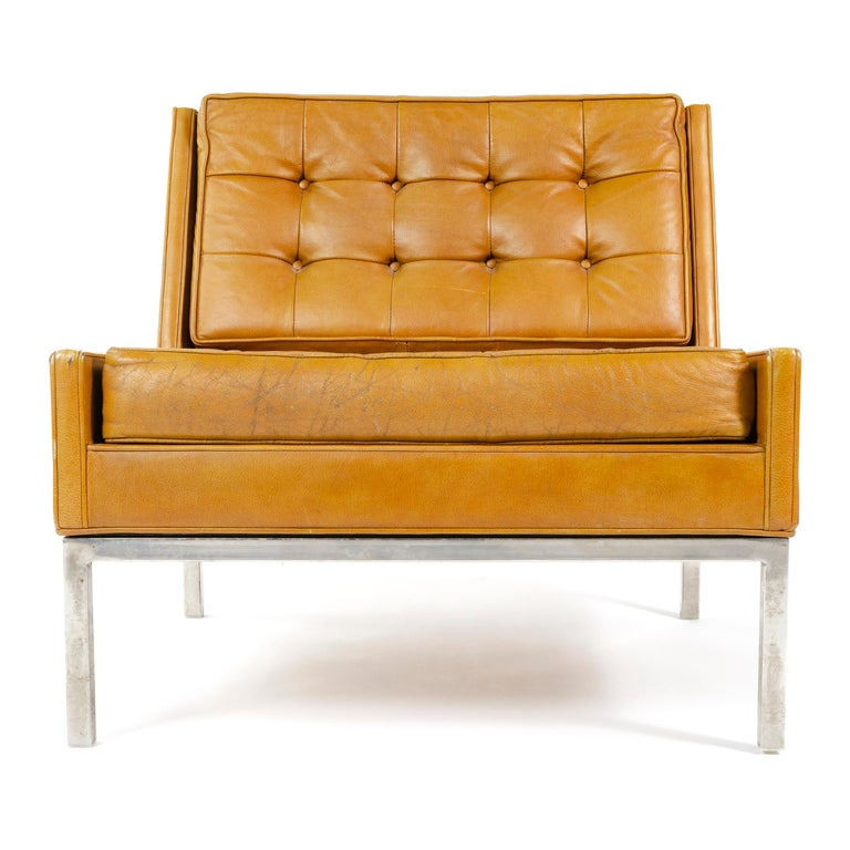 Mid-Century Modern 1960s Leather Lounge Chair by Edward Wormley for Dunbar For Sale
