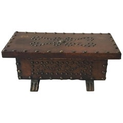 1960s Leather Studded Wood Box