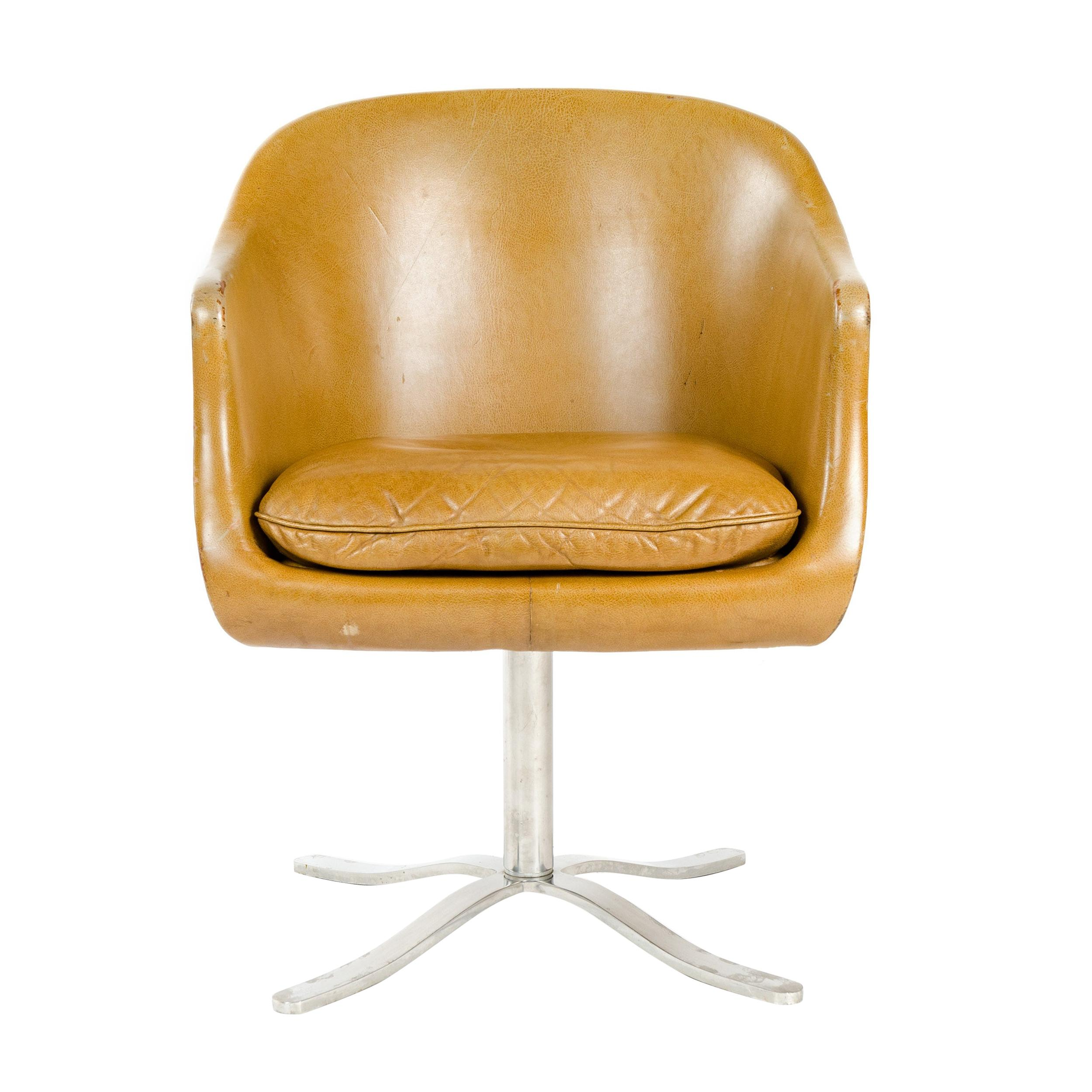 1960s Leather Swivel Desk Chair by Nicos Zographos