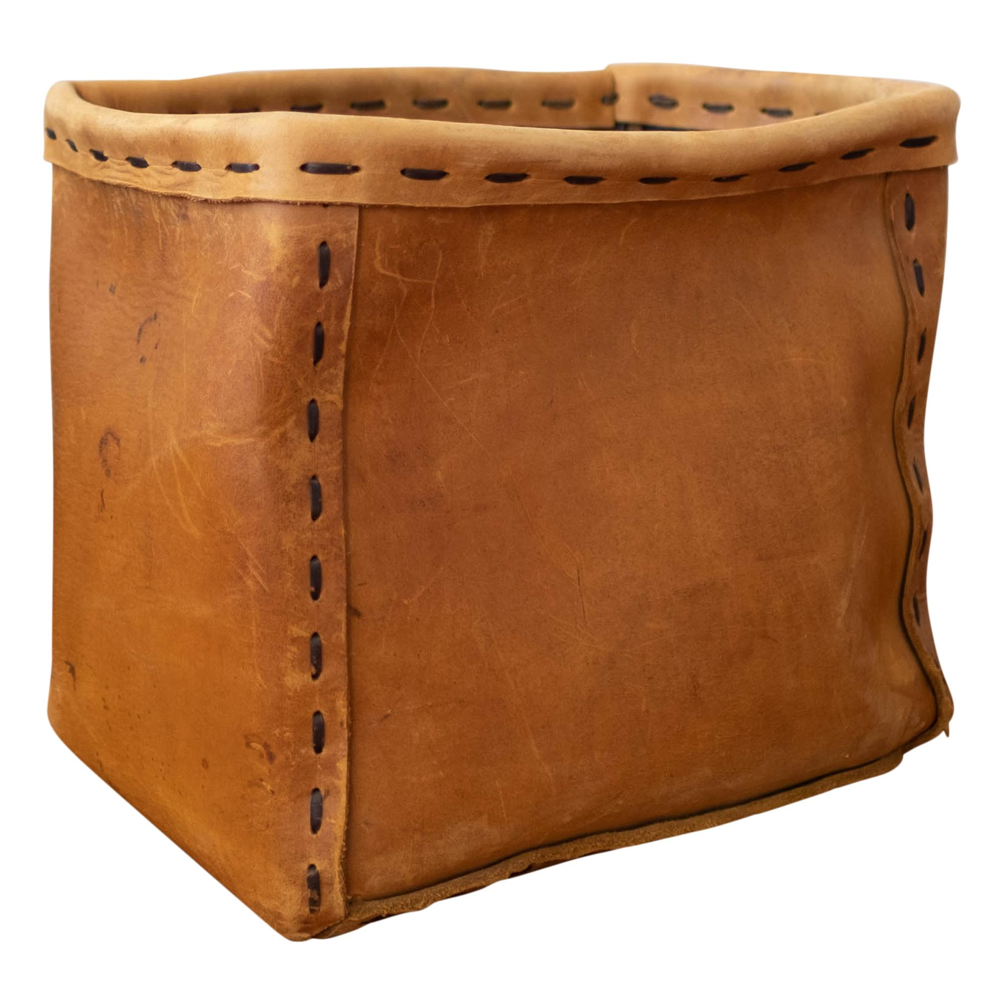 1960s Leather Waste Basket