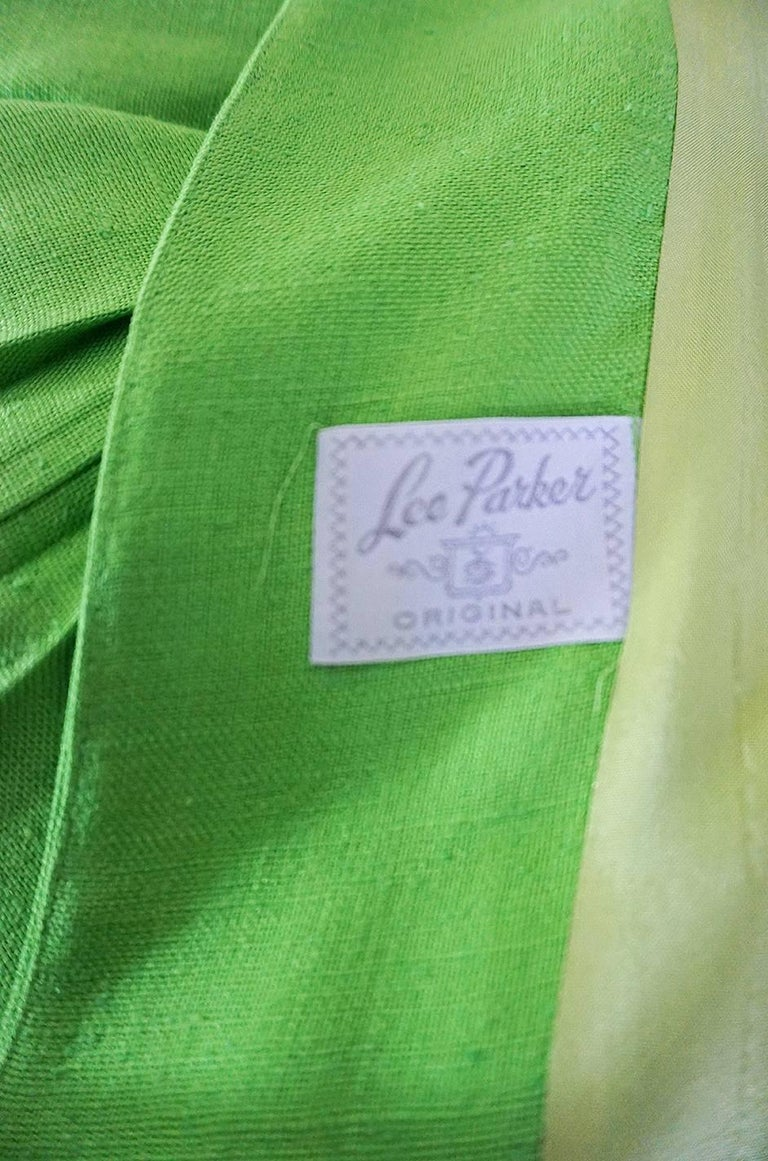 1960s Lee Parker Original Pleated baby Doll Lime Green Coat For Sale 2