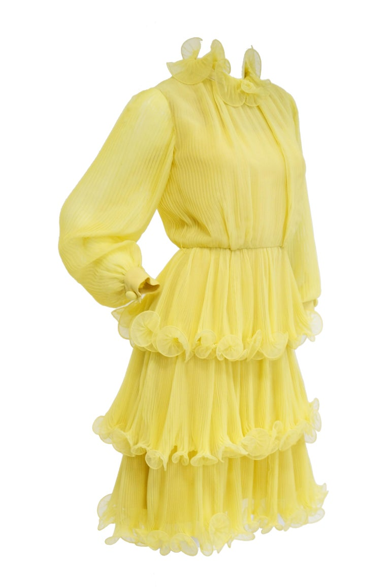 Yellow 1960s Lemon Chiffon Curly Hem Cocktail Dress For Sale