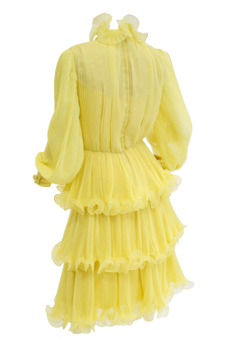 1960s Lemon Chiffon Curly Hem Cocktail Dress In Excellent Condition For Sale In Houston, TX