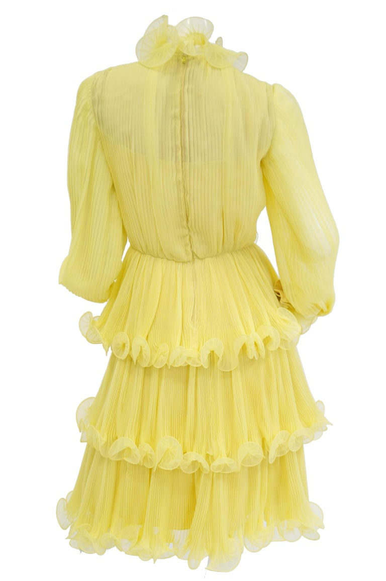Women's 1960s Lemon Chiffon Curly Hem Cocktail Dress For Sale