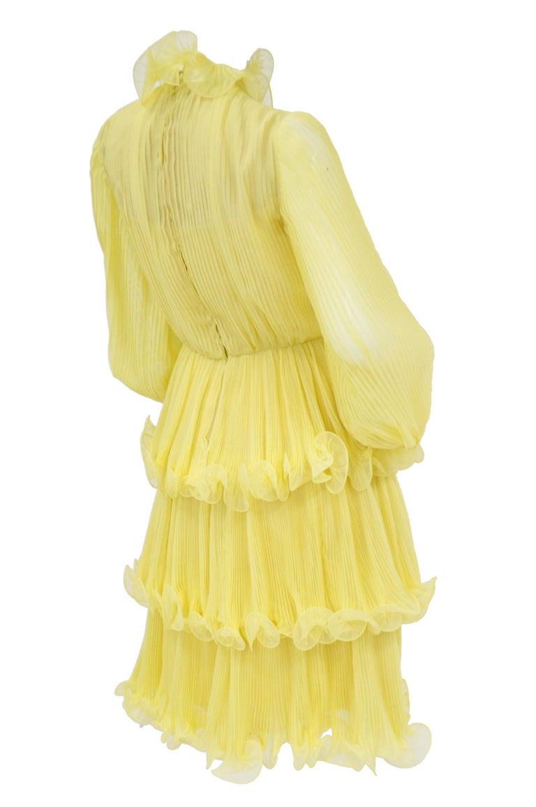 1960s Lemon Chiffon Curly Hem Cocktail Dress For Sale 1
