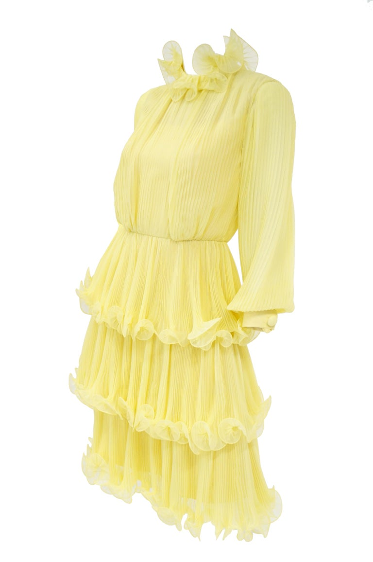 1960s Lemon Chiffon Curly Hem Cocktail Dress For Sale 2