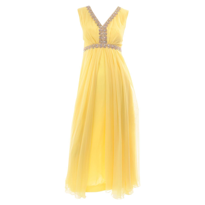 1960s Lemon Yellow Silk Chiffon Flyaway Evening Dress W Gold Trim & Rhinestones