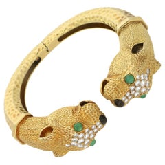 Circa 1960's Leopard Head  - Gold, Diamond and Gem Set Bangle