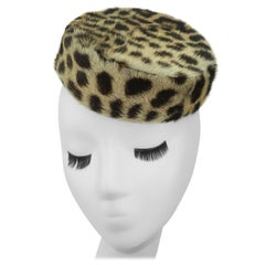 1960's Leopard Print Fur Pillbox Hat From Lord & Taylor NY