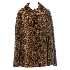 1960S Leopard Rayon Blend Faux Fur Velvet Cape