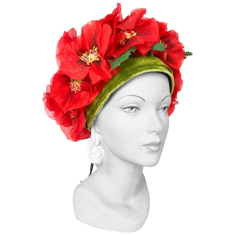 1960s Leslie James High-Fashion Floral Hat For Sale