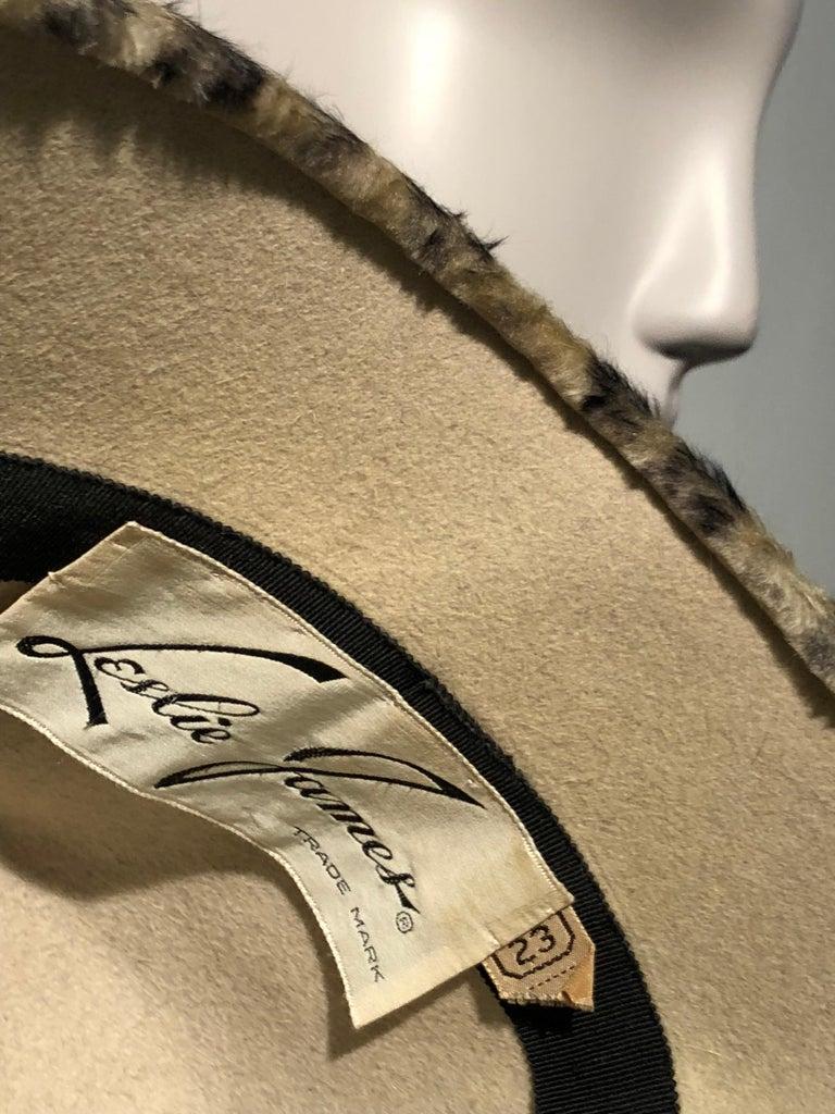 1960s Leslie James Leopard Print Faux Fur Bucket Style Hat W/ Unique Beaded Band For Sale 6