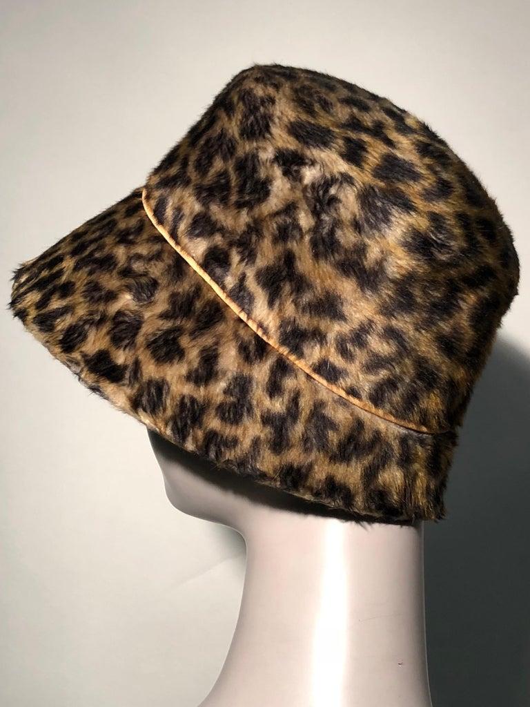 Women's 1960s Leslie James Leopard Print Faux Fur Bucket Style Hat W/ Unique Beaded Band For Sale