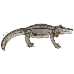 1960s Life-Size Kinetic Wire Alligator Sculpture