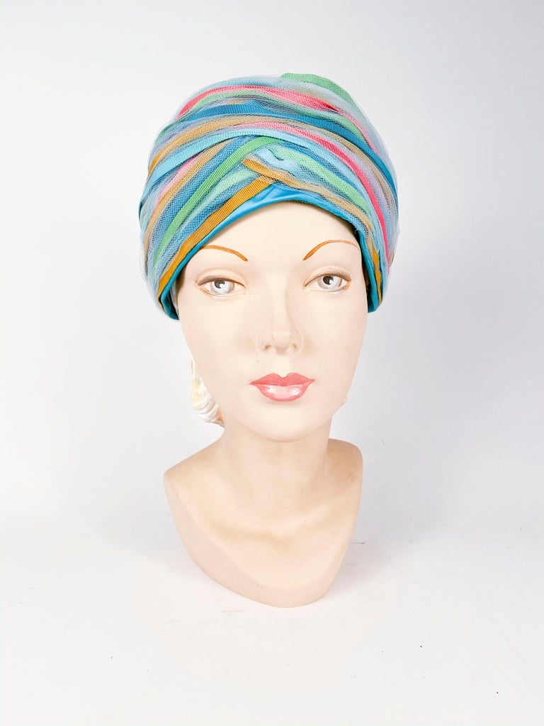 1960s Light Blue and Multicolored Ribbon Turban In Good Condition For Sale In San Francisco, CA