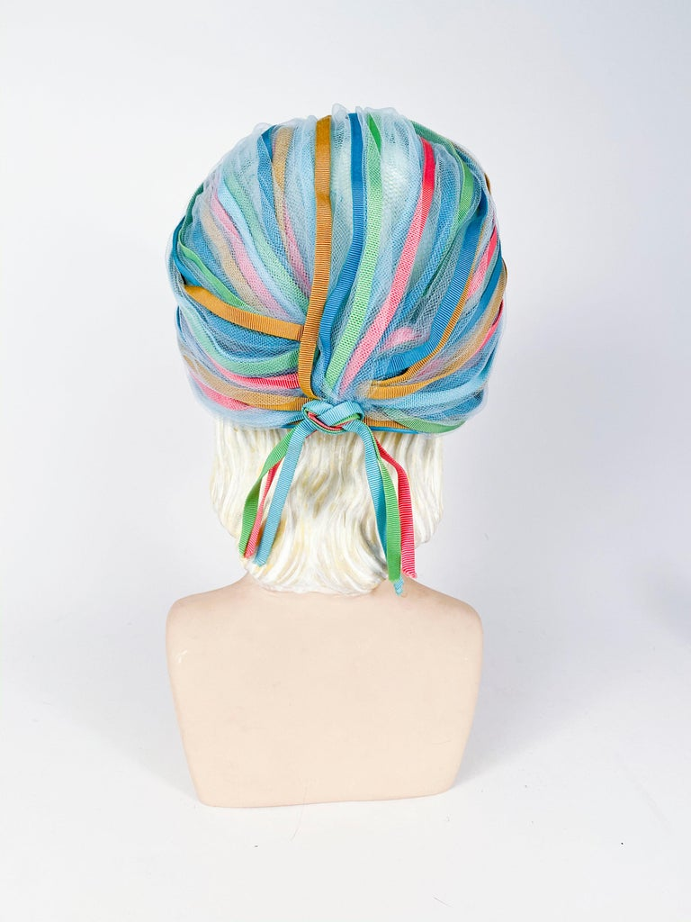 Women's 1960s Light Blue and Multicolored Ribbon Turban For Sale