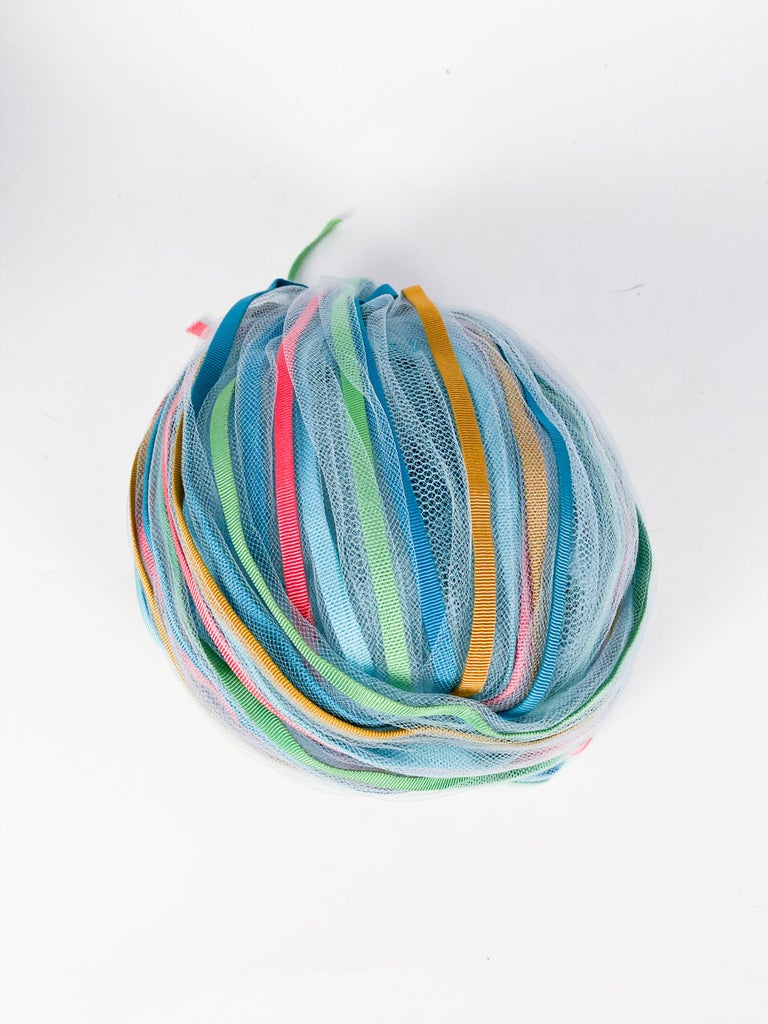 1960s Light Blue and Multicolored Ribbon Turban For Sale 1
