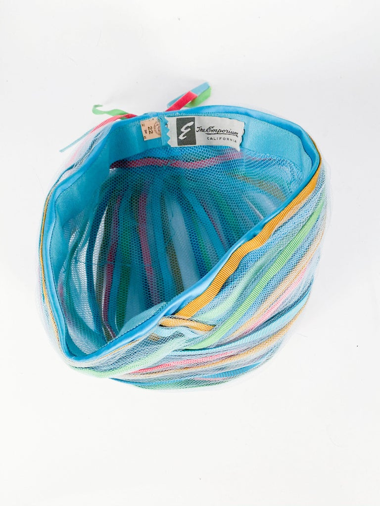 1960s Light Blue and Multicolored Ribbon Turban For Sale 2