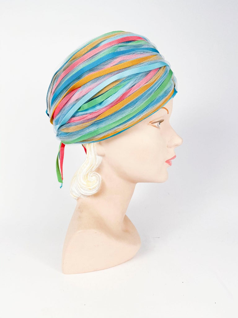 1960s Light Blue and Multicolored Ribbon Turban For Sale 3