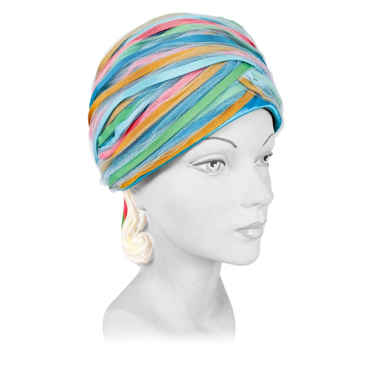 1960s Light Blue and Multicolored Ribbon Turban For Sale