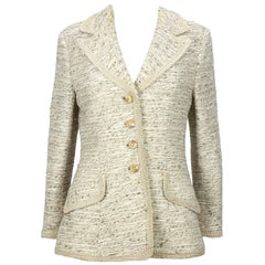 1960s Lilli Ann Beige Boucle Blazer with Ribbon Trim