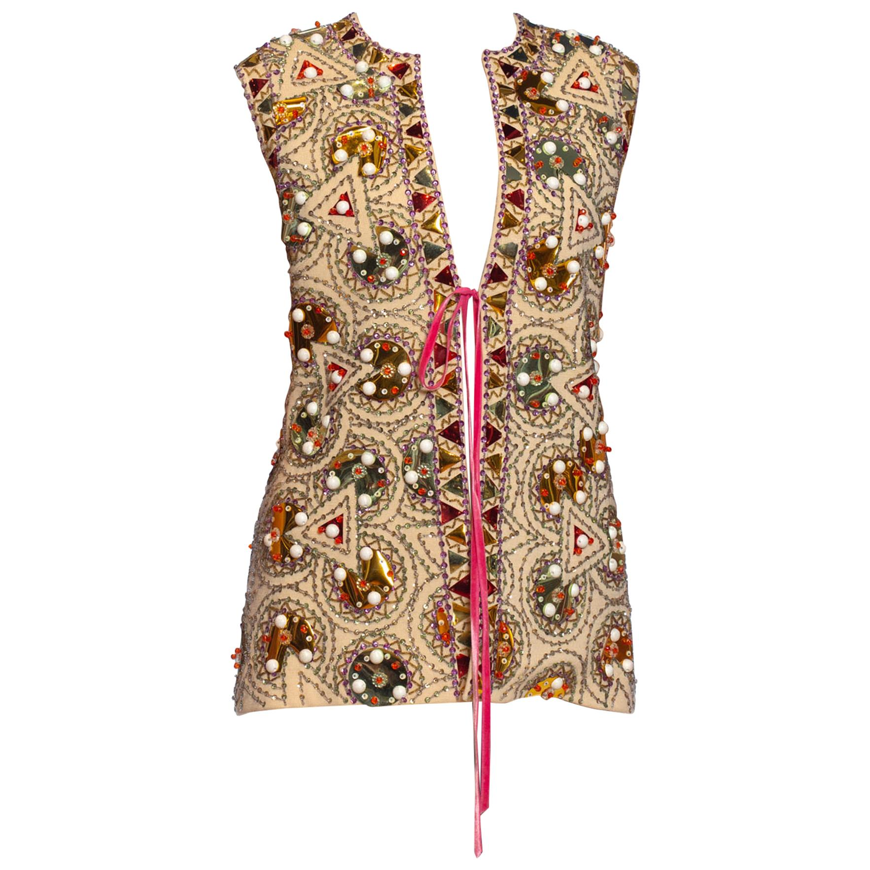 1960S LILLI ANN Cream Wool Knit Psychedelic Mod Geometric Beaded Vest