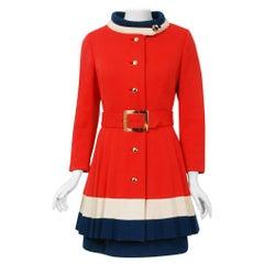 1960's Lilli Ann Red White & Blue Wool Knit Mod Sleeveless Dress & Pleated Coat