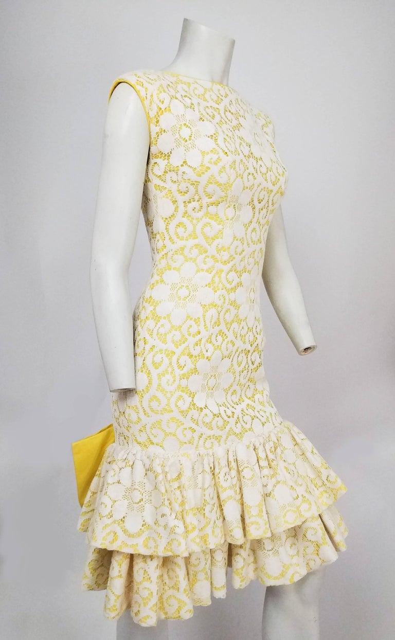 Lilli Diamond Yellow Drop Waist Ruffle Cocktail Dress With