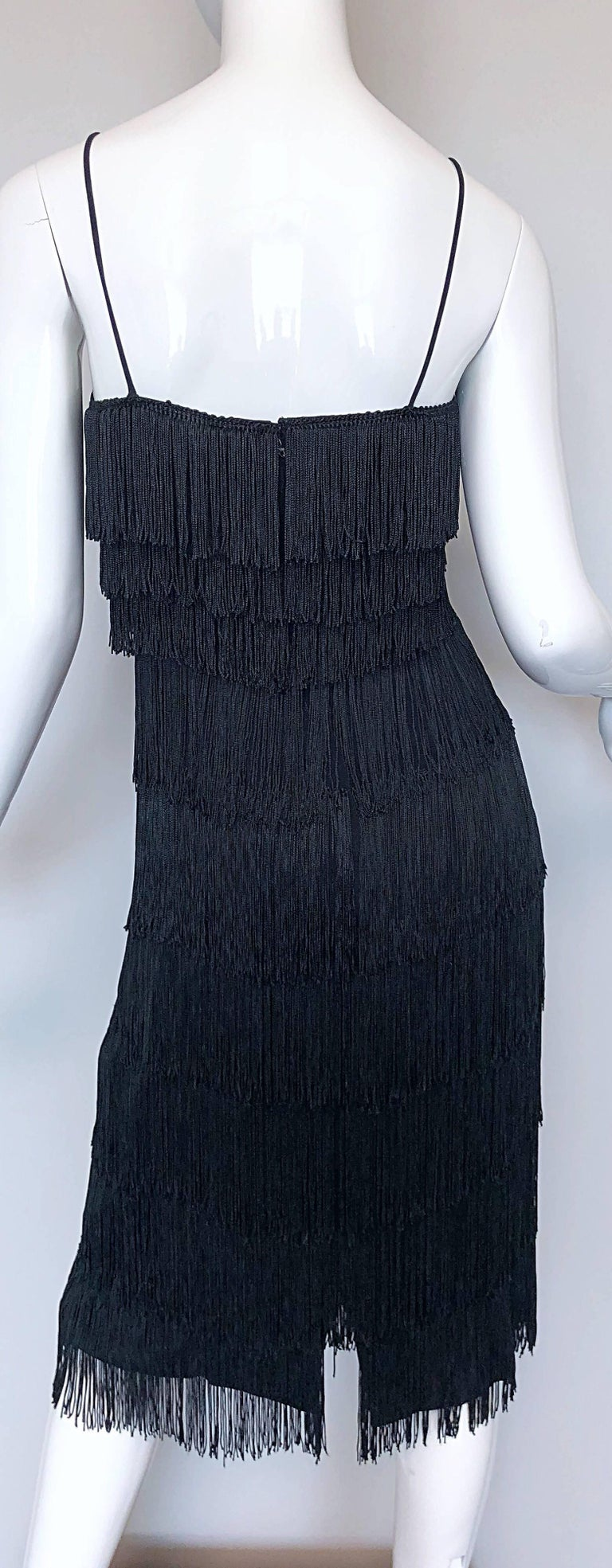 Women's 1970s Lilli Diamond Black Fully Fringed Vintage Flapper Style 70s Cocktail Dress For Sale