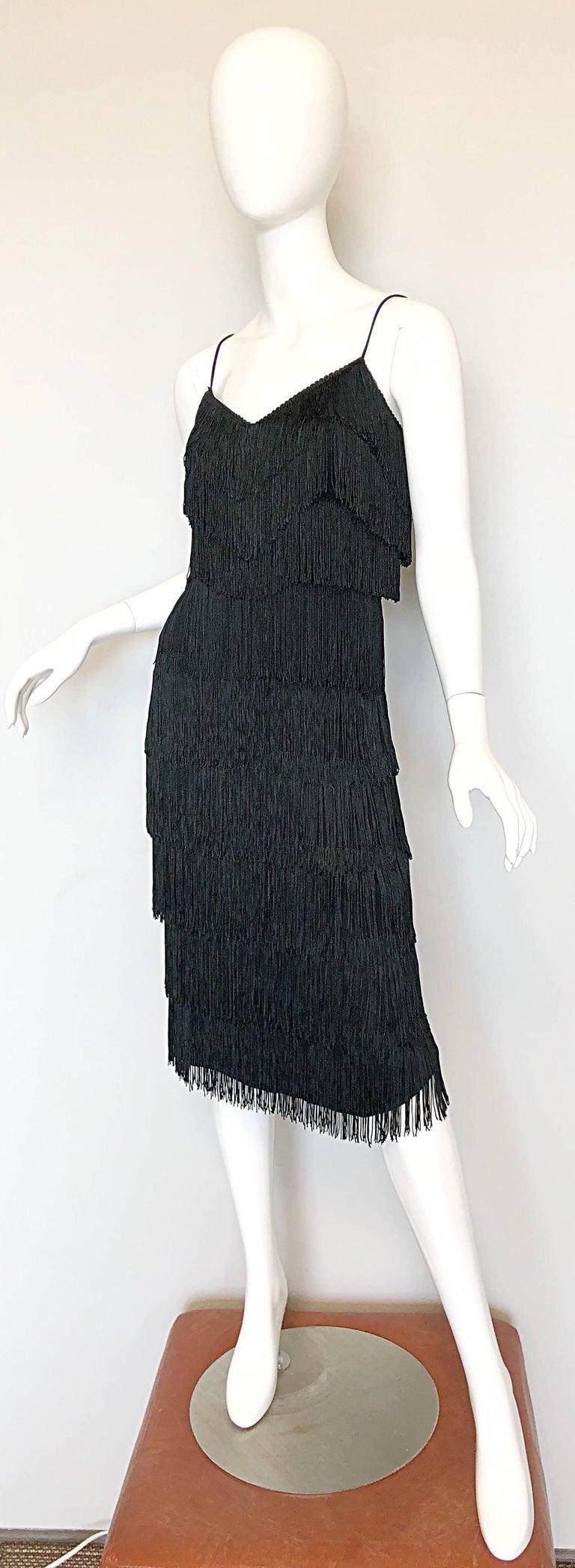 1970s Lilli Diamond Black Fully Fringed Vintage Flapper Style 70s Cocktail Dress For Sale 1