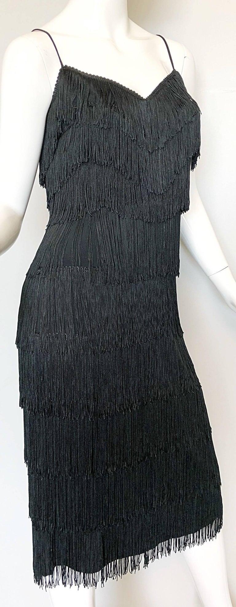 1970s Lilli Diamond Black Fully Fringed Vintage Flapper Style 70s Cocktail Dress For Sale 2