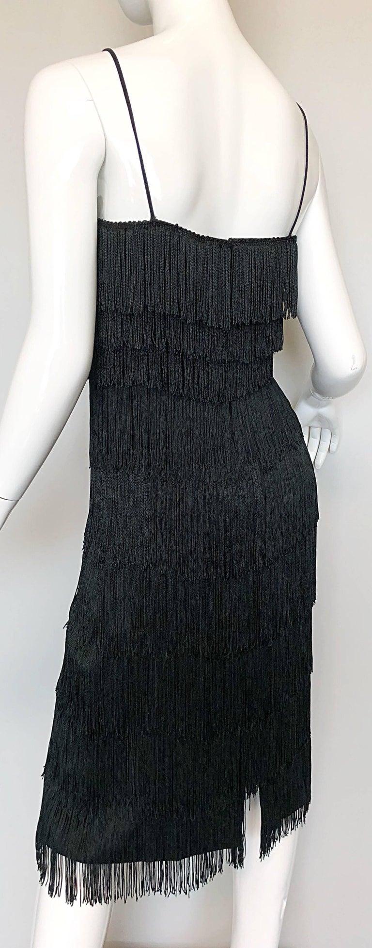 1970s Lilli Diamond Black Fully Fringed Vintage Flapper Style 70s Cocktail Dress For Sale 4