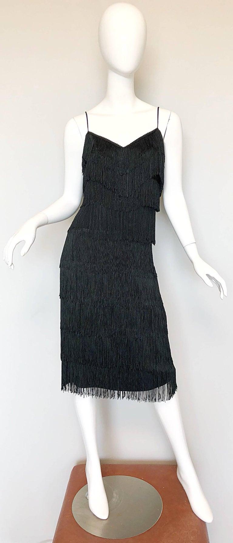 1970s Lilli Diamond Black Fully Fringed Vintage Flapper Style 70s Cocktail Dress For Sale 5