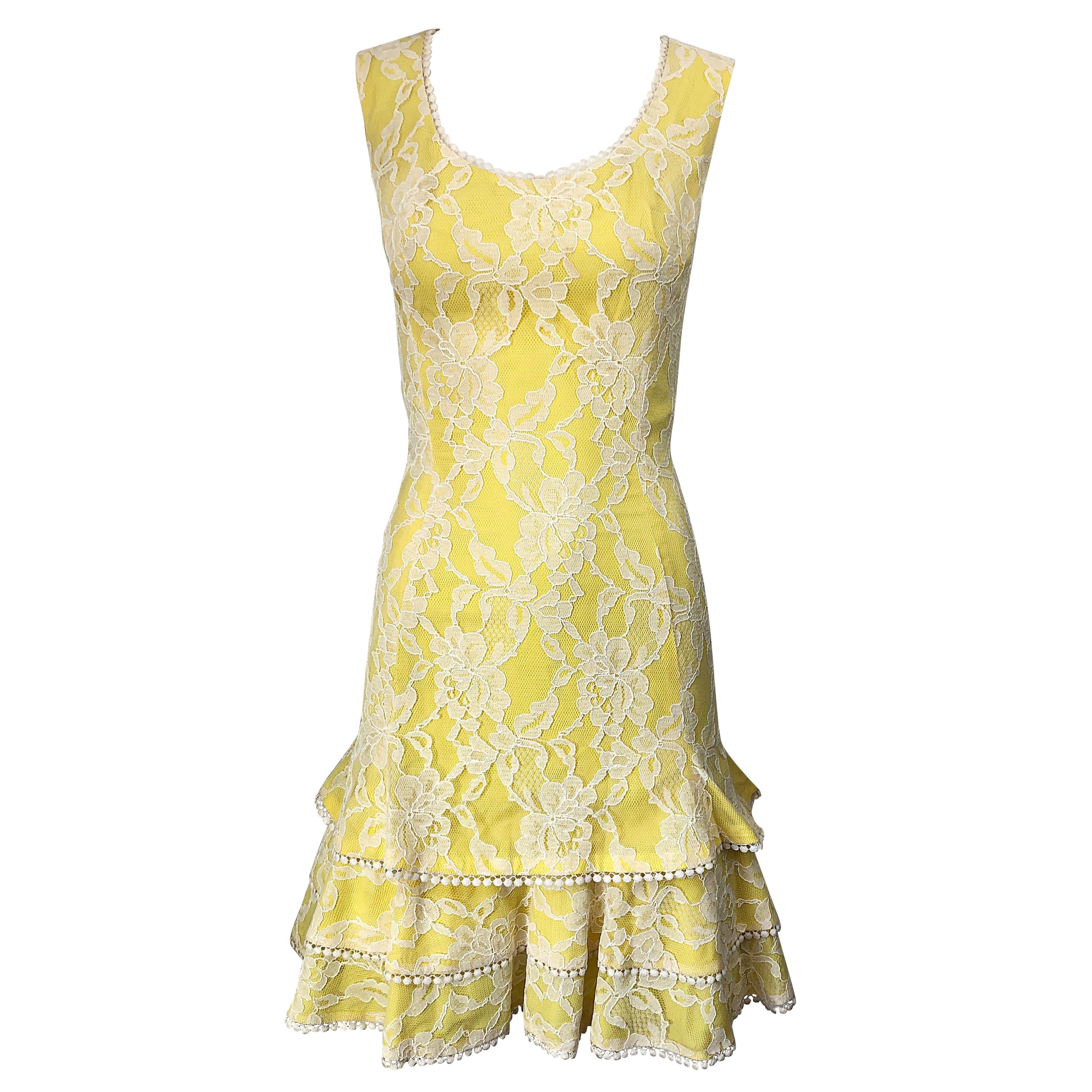 1960s Lilli Diamond Canary Yellow and White Lace Silk Vintage 60s Dress