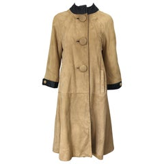 1960s Lillie Rubin Tan + Black Suede and Leather Vintage 60s Swing Jacket Coat