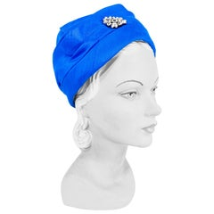 1960s Lilly Daché Azure Blue Modified Turban