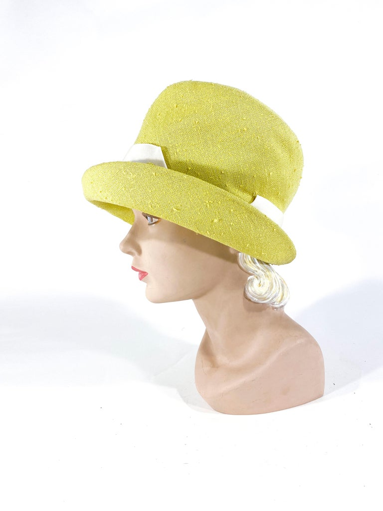 Beige 1960s Lilly Dache Green/Yellow Linen Hat For Sale