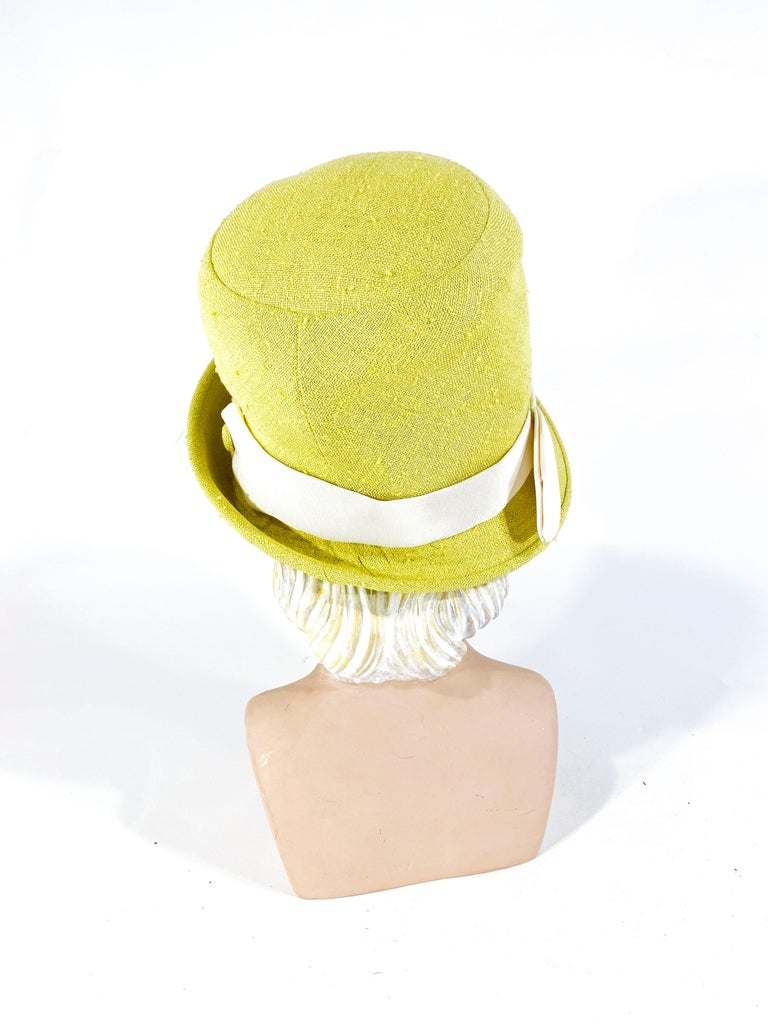 Women's 1960s Lilly Dache Green/Yellow Linen Hat For Sale