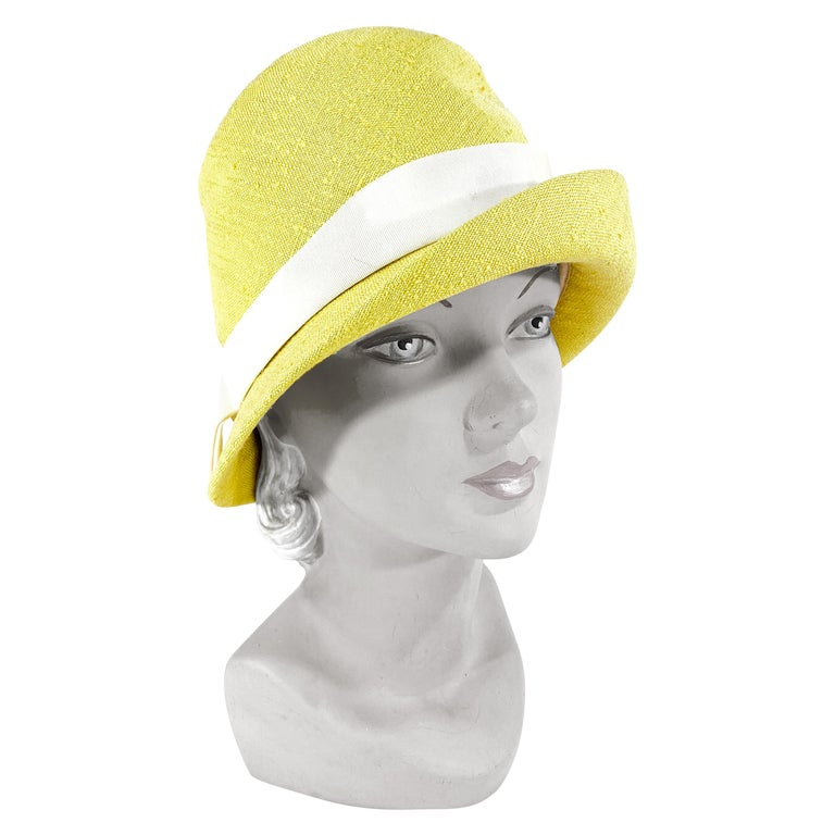 1960s Lilly Dache Green/Yellow Linen Hat For Sale