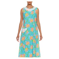 1960S LILLY PULITZER Blue Floral Organic Cotton Printed Dress