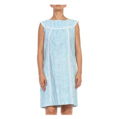 1960S LILLY PULITZER Blue & White Floral Organic Cotton Lace Sleveless Dress