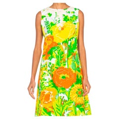 1960S LILLY PULITZER Large Scale Floral Printed Cotton Dress