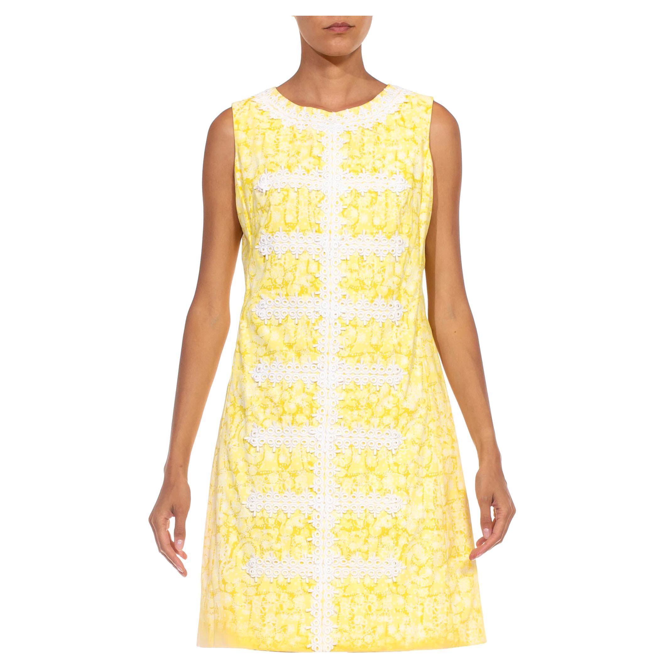 1960S LILLY PULITZER Lemon Yellow & White Cotton Lace Shift Dress