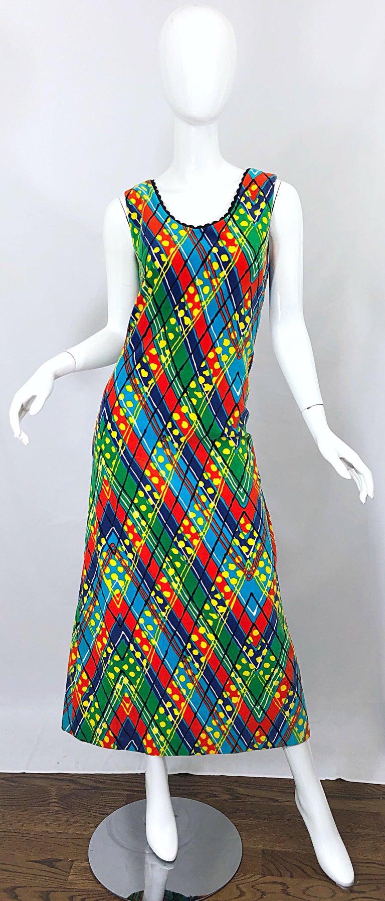 1960s Lilly Pulitzer Op Art Splatter Paint Colorful Velvet