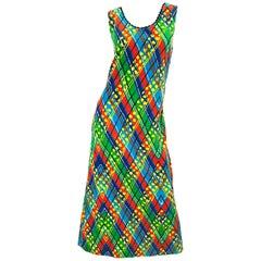 1960s Lilly Pulitzer Op Art Splatter Paint Colorful Velvet Vintage Maxi Dress