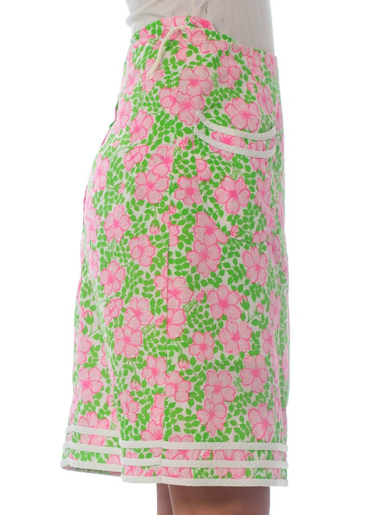 Beige 1960S LILLY PULITZER Pink  & Green Cotton Floral Mini Skirt For Sale
