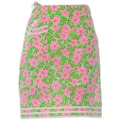 1960S LILLY PULITZER Pink  & Green Cotton Floral Mini Skirt
